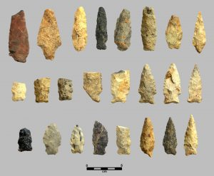 Projectile points from the Love House site, dating from 500 BC to 500 AD (UNC Research Labs in Archaeology)