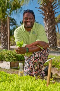 Chef Matthew Raiford in the Organic Garden.  Little St. Simons Island, GA.