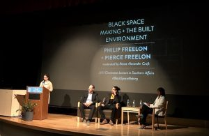 Philip and Pierce Freelon on a stage with Renee Alexander Craft and Malinda Maynor Lowery