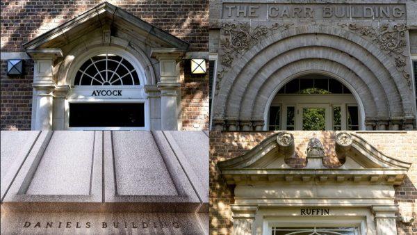 composite of four unc campus buildings