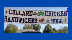 Banner with collard sandwiches and chicken bog