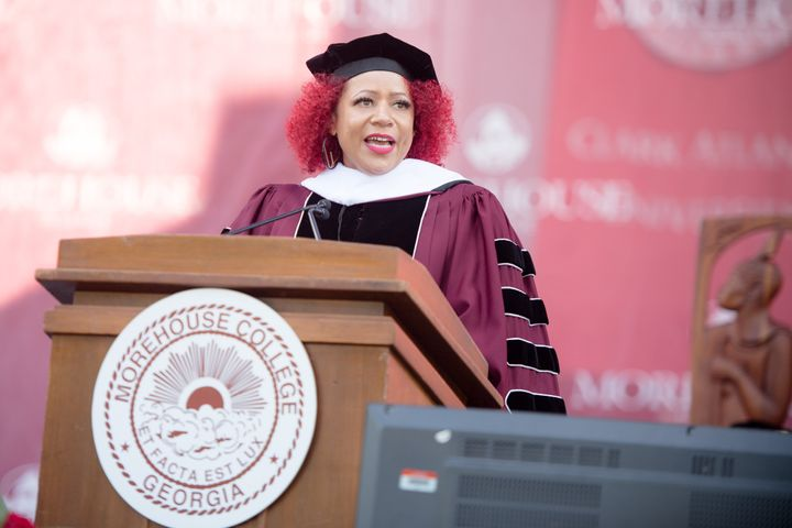 Nikole Hannah-Jones speaking at the commencement ceremony for Morehouse College in Atlanta on May 16.